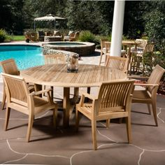 7 pc Buckingham Laguna Dining Set includes one Buckingham Round Table and six Laguna Armchairs. All of our Teak outdoor furniture has a life expectancy of 75 years untreated and weathered. Round Table And Chairs, Teak Dining Chairs, Outdoor Tables And Chairs, Dining Arm Chair, Patio Table, Dining Set, Outdoor Dining, Outdoor Spaces, Dining Room