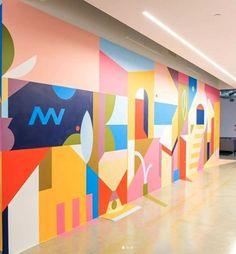Office Wall Design, Office Mural, Office Graphics, School Murals, Inspiration Wall, Colour Inspiration, Floor Stickers, Ecole Art, Mural Wall Art
