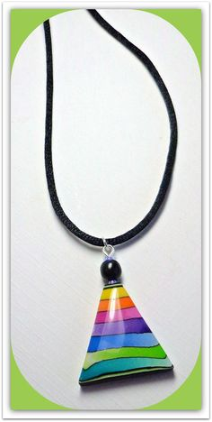 polymer clay Jewelry SALE Rainbow Triangle Pendant by BeadazzleMe via Etsy