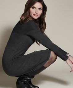 Charcoal Ribbed Neck Long-Sleeve Dress