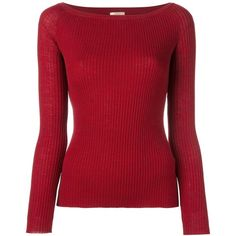 Nude Ribbed Fine Knit Top (¥18,685) ❤ liked on Polyvore featuring tops, sweaters, red, red sweater, nude tops, wool tops, red wool sweater and red top