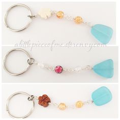 Beachy Keychains featuring a large flat turquoise glass with wood flower beads. Add some fun to your keys with these beautiful Keychains made in Hawaii.    Find more keychains here http://alittlepieceofme.storenvy.com/collections/80547-keychains