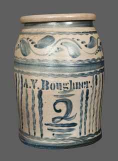 """Two-Gallon Stoneware Jar, Stamped """"A. Stoneware Crocks, Antique Stoneware, Antique Pottery, Earthenware, Blue Pottery, Antique Crocks, Old Crocks, Glazes For Pottery, Glazed Pottery"""