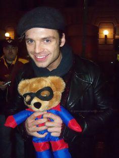 Sebastian Stan and Bucky Bear :')