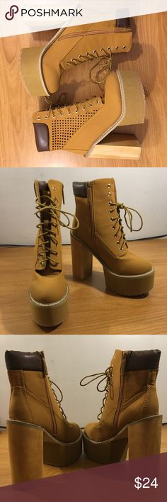 Shiekh Wheat Block High Heel Platform Boots Shoes Brand new, never worn boots. Heel measures approx 5.5 inches. Please see pics for more details (: Shiekh Shoes Ankle Boots & Booties