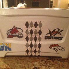 Hand painted cooler with all of his  favorite things.  Fill it with beer, great 21st birthday present!