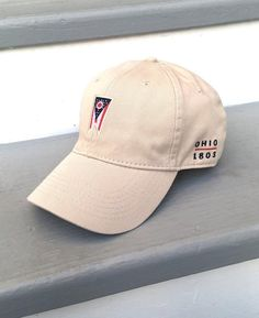 Ohio Flag Hat - Stone Cotton Twill