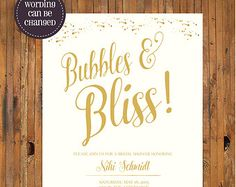 Bubbles and Bliss Bridal Shower invitation - Bridal Luncheon - Bridesmaid Luncheon - Bridal Brunch - Ivory and Gold - Item 0220