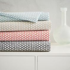 Fresh for Spring! Petite polka dots cover our pure cotton Dot Sheet Set. Treat the print like a solid and mix with stripes and other patterns in similar colors.