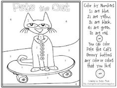 Pete the Cat color by number and groovy 10 frame.