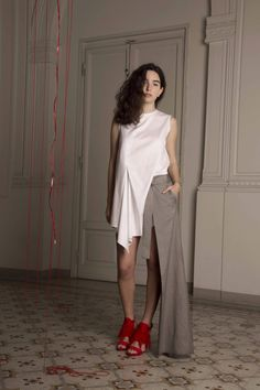 BA degree final collection 2016. Draping collection inspired by 'the red thread'.