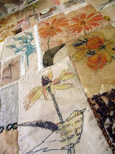 detail ~ Stitch Ritual by Jane LaFazio Stitch Ritual by Jane LaFazio This quilt truly combines my two artistic loves, dr. Fabric Art, Fabric Crafts, Sewing Crafts, Thread Painting, Thread Art, Textile Fiber Art, Textile Artists, Crazy Quilting, Free Motion Embroidery