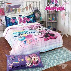 Disney Minnie Fleece Comforter Set Full XL/Queen Bundled with Cozy Cotton Blanket Twin - Queen Bedding Sets, Comforter Sets, Minnie Mouse Bedding, Kids Comforters, Restoration Hardware Bedding, Bedroom Decor For Teen Girls, Cotton Blankets, Cool Beds, Bed Covers