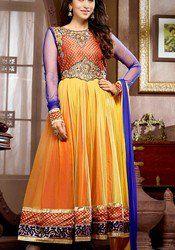 karishma kapoor Orange & Yellow Net Floor Length Anarkali Suit
