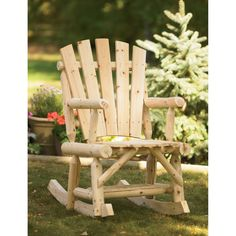 This Stonegate Designs Log Adirondack Rocking Chair is a great place to sit a spell and forget about your worries. With a smooth rocking motion and. Adirondack Rocking Chair, Outdoor Rocking Chairs, Portable Sheds, Log Chairs, Patio Accessories, Cut Above The Rest, Woodworking Organization, Backyard Furniture, Wood Logs