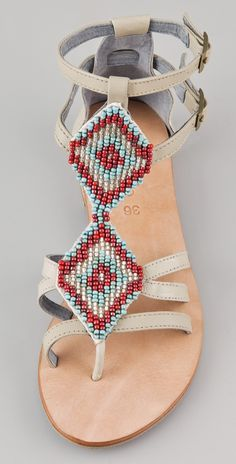 Cocobelle Aztec Beaded Flat Sandals | 15% off first app purchase with code: 15FORYOU