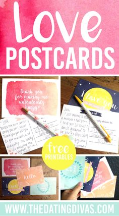 Absolutely ADORABLE love postcards to print out for your spouse. Great idea for leaving love notes.