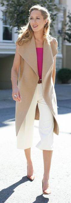 sleeveless camel coat, pink tank bodysuit, white culottes, nude pointy toe pumps {white house black market, tuxe, ralph lauren}