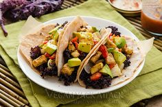 Roasted Tofu and Kale Tacos (with the cauliflower tortillas!) Yum!