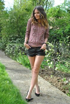 leather shorts + chunky knit