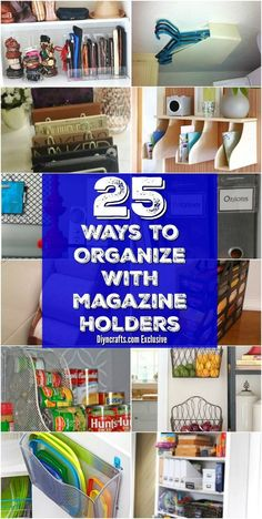 Magazine holders can be both inexpensive and functional in a lot of ways! I love this article and the 25 Easy DIY ways to get organized this Spring!
