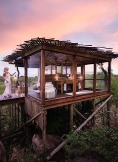Staying at Lion Sands Ivory Lodge and Treehouses (The Blonde Abroad) Beautiful Hotels, Beautiful Places, Sand Game, Forest House, Bungalows, Lodges, Around The Worlds, Outdoor Structures, House Design
