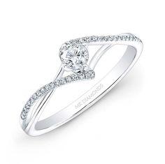 14k White Gold 1/4ct Center White Diamond Swirl Engagement Ring