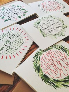 Christmas Cards HandLettered and Painted Set of 10 by jolie .- Weihnachtskarten HandLettered und Painted Set von joliemade – Christmas Cards HandLettered and Painted Set of 10 by joliemade – # 10 - Diy Christmas Cards, Noel Christmas, Xmas Cards, Winter Christmas, Diy Cards, Holiday Crafts, Christmas Decorations, Greeting Cards, Painted Christmas Cards