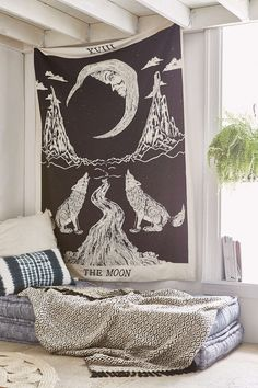 """MSRP: $49.00 GLAM: $27.00 Measures Approx. 85"""" x 55"""" Inches (Twin Size) Color: Black Mesmerizing tapestry crafted in soft woven cotton. Instantly adds a unique touch of boho charm to any living space"""