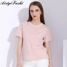 496c213b14e4 ASY Sommarpärlor Beaded T-Shirt Kvinnor Svart Kortärmad O Hals Solid Casual  T-shirts För Mode Dam Högkvalitativ 2018