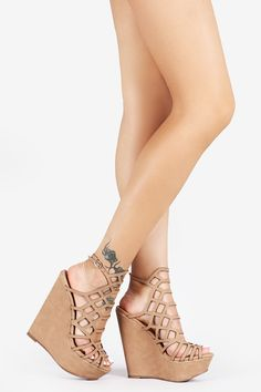 Honeycomb Platform Wedges - Coral - Bare Feet Shoes - 1