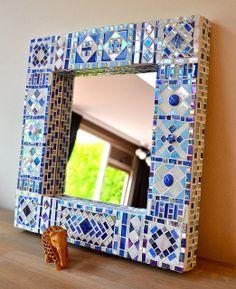 Mirror in blue #mosaic            #mirror #art
