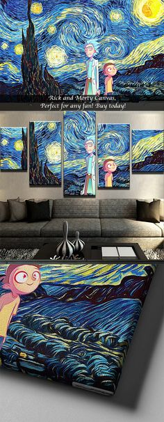 Are you a fan of Rick and Morty? Then buy this Starry Night Rick and Morty Canvas Set!