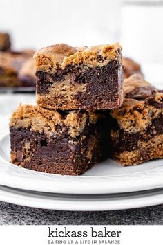 Brookies are a combination of rich, fudgy brownies and classic, chewy chocolate chip cookies giving you the best of both worlds in one dessert!   kickassbaker.com #easybrookies #cookiebrownies #homemadecookies #homemadebrownies #cookiebars #nutfreerecipe