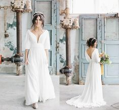 2020 Fashion V Neck And Back Boho Wedding Dresses Bridal Gown With Poet Sleeves Chiffon Count. 2020 Fashion V Neck And Back Boho Wedding Dresses Bridal Gown With Poet Sleeves Chiffon Country Wedding Dress Pretty Dre. Tea Length Wedding Dress, Tea Length Dresses, Boho Wedding Dress, Lavender Bridesmaid Dresses, Bridal Dresses, Country Wedding Gowns, Popular Wedding Dresses, Trendy Wedding, Pretty Dresses
