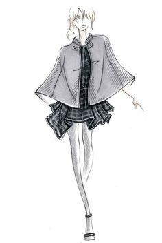 New York Designer Inspirations: Part Three Fashion illustration - fashion design sketch for Joie Illustration Mode, Fashion Illustration Sketches, Fashion Design Sketches, Illustration Example, Fashion Designers, Young Fashion, Trendy Fashion, Fashion Art, Fashion Trends