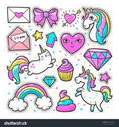 Fashion Patch Badges With Unicorns, Hearts, Cats, Rainbow And Other Elements For Girls. Vector Illustration Isolated On White Background. Set Of Stickers, Pins, Patches In Cartoon 80s-90s Comic Style. - 481800055 : Shutterstock