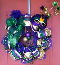 Mardi Gras Deco Mesh Wreath with a mask and beads