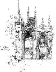 Peterborough Cathedral    .......  Illustrations By .................    HERBERT RAILTON  ....  11/21/1857 - 3/15/1910 .
