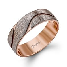 LG133 - This impressive 14K rose gold mens band is a sleek contemporary design. - LG133