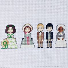 Gone With The Wind Cross Stitch Scarlett Melanie Ashley Rhett Mammy Cute Chibi Characters Old Hollywood Movie Actors Costumes Gift For Her by LakeviewNeedlework on Etsy