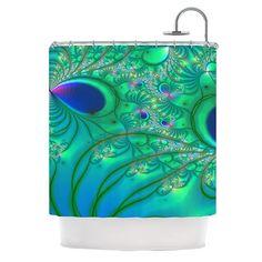 "Kess InHouse Alison Coxon ""Fractal Turquoise"" Shower Curtain"
