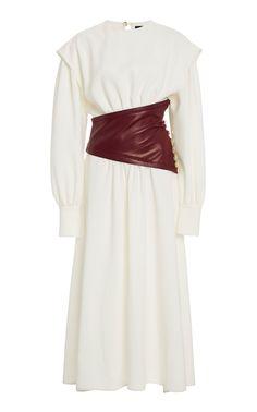 Leather-Detailed Crepe Midi Dress by Proenza Schouler Satin Midi Dress, Silk Dress, Caftan Dress, Crepes, Mid Length Dresses, Asymmetrical Skirt, Flower Dresses, Women's Dresses, Casual Dresses
