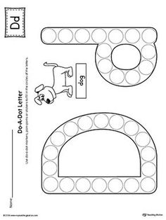 Letter D Do-A-Dot Worksheet Worksheet.The Letter D Do-A-Dot Worksheet is perfect for a hands-on activity to practice recognizing the letters of the alphabet and differentiating between uppercase and lowercase letters. Preschool Letters, Preschool Learning Activities, Preschool Lessons, Learning Letters, Alphabet Activities, Preschool Worksheets, Letter D Worksheet, Printable Alphabet Worksheets, Printable Letters