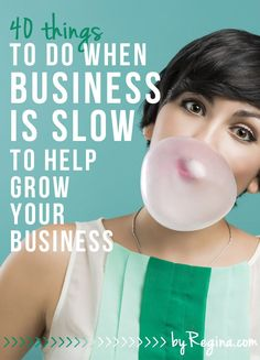 Here are --> 40 Things to Do When Business is Slow (to help grow your business). These are great tips + activities for your business as you grow. Self Employment Entrepreneur, Small business Business Help, Small Business Marketing, Craft Business, Business Advice, Growing Your Business, Business Planning, Creative Business, Online Business, Business Management