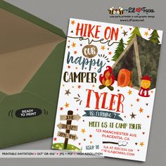 Girl camping birthday invitation diy printable camp birthday camping birthday invitation printable diy invitation personalized invite card diy party printables will save filmwisefo Images