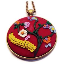 Christmas jewelry Clay charm Polymer applique Red necklace Flower pendant Boho necklace womens jewelry Statement jewelry Gift for her       #bestofEtsy #Polymerapplique
