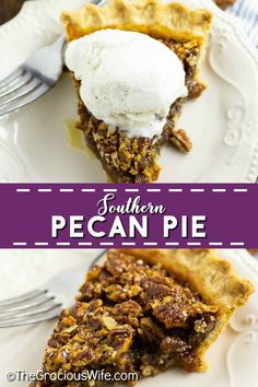 Gooey caramel filling with crunchy pecans in a buttery, flaky, golden crust make this homemade Southern Pecan Pie a heavenly treat for your holiday table! This recipe is SO EASY to make and seriously the best pecan pie ever. Plus video directions! Pecan Recipes, Pie Recipes, Appetizer Recipes, Baking Recipes, Dessert Recipes, Family Recipes, Desserts, Easy Holiday Recipes, Thanksgiving Recipes