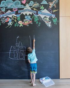 The art is a cool addition to a chalkboard.  I like the chalkboard idea but can't quite get around the thought of sleeping with chalk dust - yuck