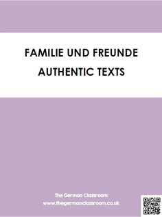 Booklet of authentic texts with reading comprehension questions on the topic of family. Good for GCSE German!